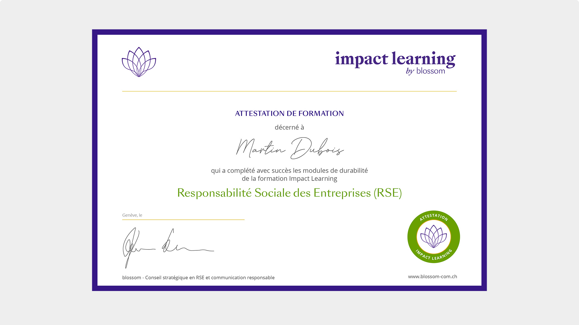 Certificat impact learning